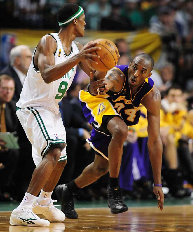 Kobe Bryant is aggressive defending Rajon Rondo here, but the Celtics had their way much of the night. Boston shot 52.9 percent from the field and cracked the 100-point barrier for only the fourth time in 22 playoff games.