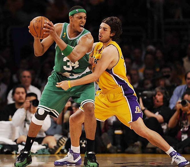 The Lakers bottled up Celtics captain Paul Pierce, who scored just six points on 2-of-14 shooting.