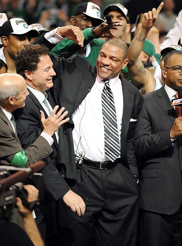 Doc Rivers not only won a title in his first Finals appearance but also prevented the Lakers' Phil Jackson from breaking a tie with Celtics legend Red Auerbach for most championships by a coach. Jackson and Auerbach have won nine apiece.
