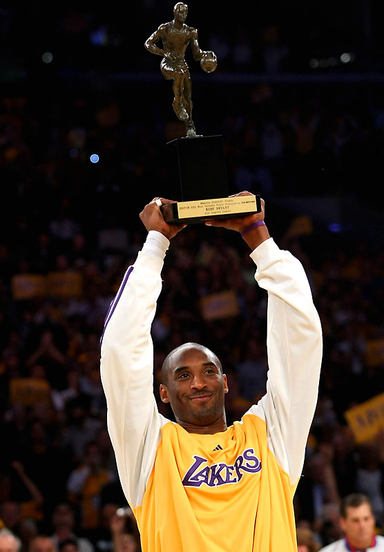 Less than a year after requesting a trade, Bryant led a young Lakers team to a 15-game improvement and the top playoff seed in the 2008 Western Conference playoffs. Bryant won his first MVP award and -- with help from midseason acquisition Pau Gasol and a cast of developing young players -- lifted L.A. into the NBA Finals against the Celtics.