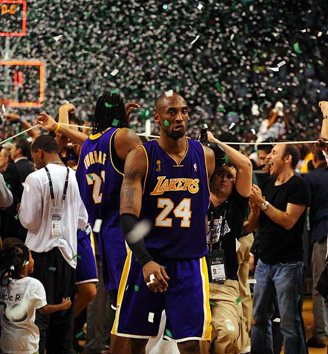 "Bottled up by the Celtics' stifling defense, Kobe and the Lakers lost the 2008 Finals in six games. ''They were definitely the best defense I've seen the entire playoffs,"" Bryant said after the Lakers were routed 131-92 in Game 6. ''I've seen some pretty stiff ones and this was right up there with them.''"