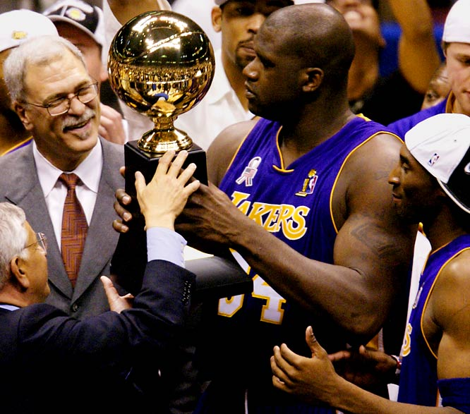 After being dispatched in the second round of the playoffs in each of his first three seasons, Bryant and the Lakers willingly accepted the Zen-inflected teachings of new coach Phil Jackson and rolled to the 2000 NBA title over the Pacers. Phil, Shaq and Kobe would combine to win the next two titles after that before an aging supporting cast and an unhealthy dose of Tim Duncan ended the Lakers' mini-dynasty in 2003.