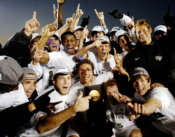 The top-seeded Demon Deacons pulled off a come-from-behind victory over Ohio State in Cary, N.C., getting two second half goals to win title 2-1.  Sophomore Zack Schilawski netted his fifth game-winner in front of a hometown crowd when he buried a cross in the 74th minute.