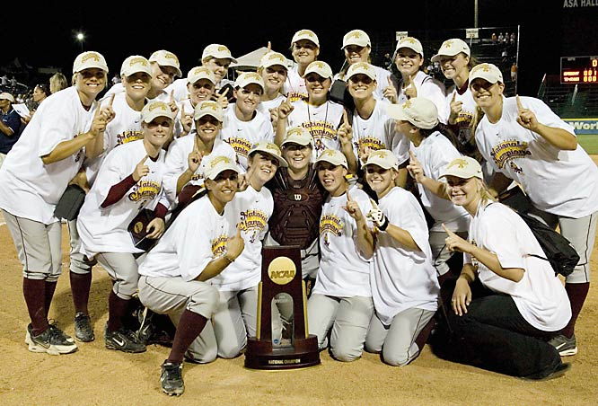Junior Kaitlin Cochran hit a three-run homer to help the Sun Devils claim their first softball championship in an 11-0 win over Texas A&M. The victory was the largest margin of victory in a shutout in a women's CWS clincher.