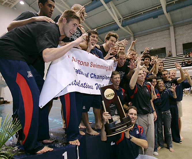 A week after the Arizona women earned the school's first NCAA swimming championship, the guys matched the feat. The Wildcats topped second-place Texas by 94 points and knocked off five-time defending champ Auburn, which finished fifth, by a whopping 184 points.