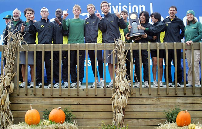 Top-ranked Oregon won its fifth national title and first since 1977 behind a strong performance by junior Galen Rupp. His second-place time of 29:24 trailed Liberty's Josh McDougal by just one second and was the best by a Duck at Nationals since Alberto Salazar in 1979.