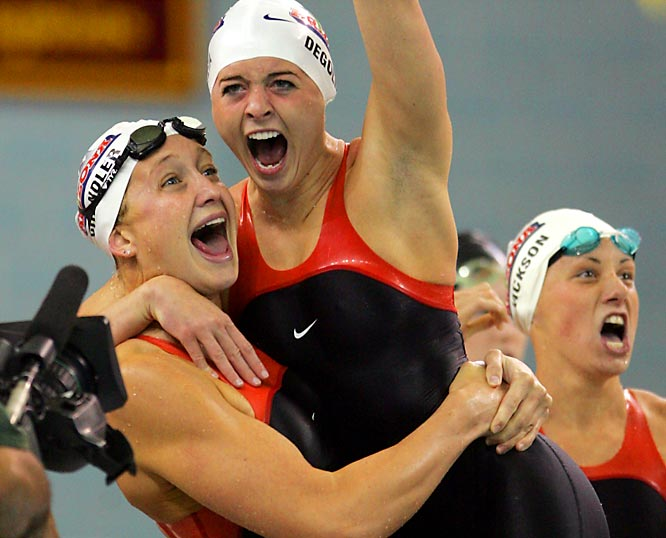 With a win in the 400 freestyle relay, Arizona women's team capped a dominating performance in the NCAA Championships for their first national title. Runners up the previous year, the Wildcats won the 2008 crown by a 136-point margin over Auburn.<br><br>Send comments to siwriters@simail.com.