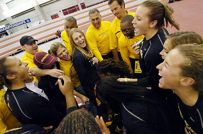 Jacquelyn Johnson scored 4,496 points to become the first three-time winner of the indoor pentathlon as ASU won its second straight indoor title.