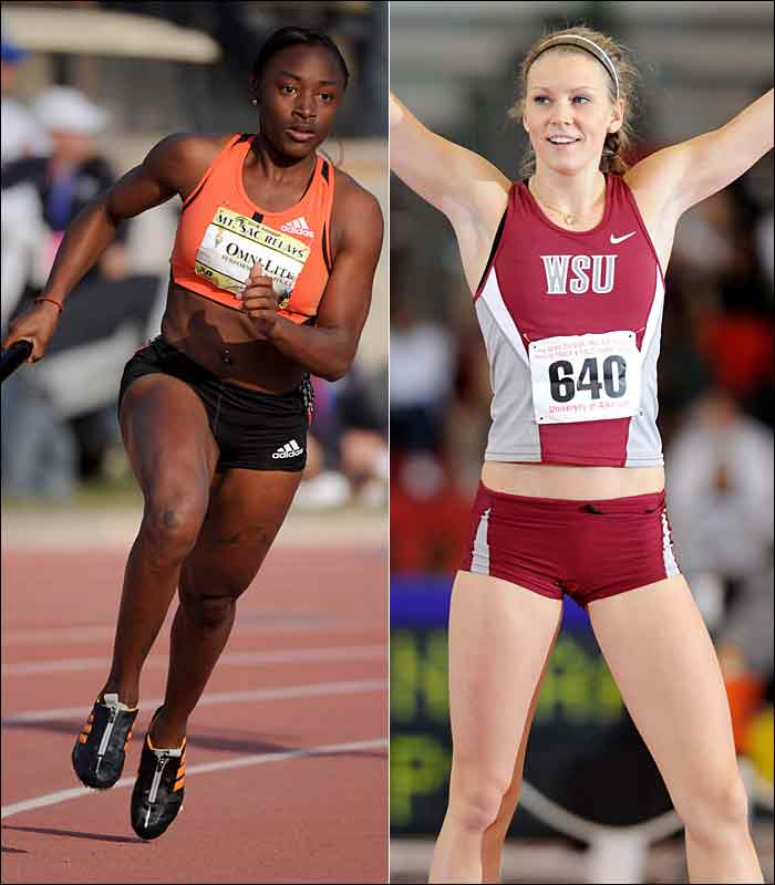 Knight ran the second-fastest time ever for an American woman to win the 200 meter title at the NCAA Indoor Championships, while Jungmark won the high jump title at the same meet by clearing 6 feet, 2 1/4 inches, a personal-best. They were the only freshmen to win individual titles at the indoor meet.