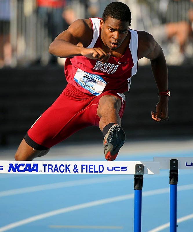 Anderson won the outdoor 400 meter hurdles title after playing in all 12 games at wide receiver for the Cougars in the fall.