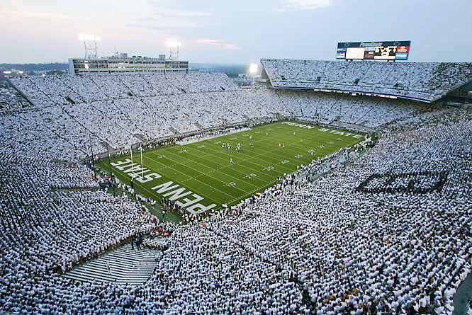 "Wearing all white, 110,078 Penn State fans welcome the Fighting Irish to the ""White House,"" while setting the second-highest attendance record in Beaver Stadium history."