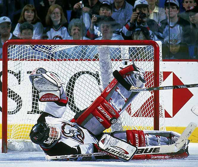 Noted for his unorthodox style of frequently flopping, writhing and flailing to make saves, Hasek enjoyed a streak of exceptional success that earned him the nickname The Dominator. In 1996-97, he won 37 games and became the first netminder since Jacques Plante in 1962 to be selected as the NHL's Most Valuable Player.