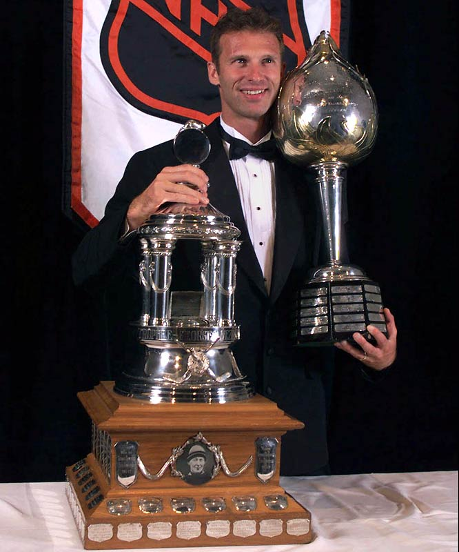During the 1997-98 season, Hasek snared his fourth Vezina by winning 33 games with 13 shutouts and a 2.09 GAA while facing more shots (2,149) than any NHL netminder. He became the first, and so far only, goaltender to win the Hart Trophy (MVP) twice.