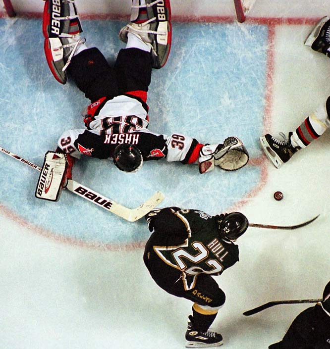 Perhaps the most bitter moment of Hasek's career came in the third overtime of Game 6 of the 1999 Stanley Cup Final against the Dallas Stars. That's when Brett Hull was awarded the game- and Cup-winning goal even though his foot was clearly in the crease when he put the puck past the Sabres' netminder. Hasek's third straight Vezina was little consolation.