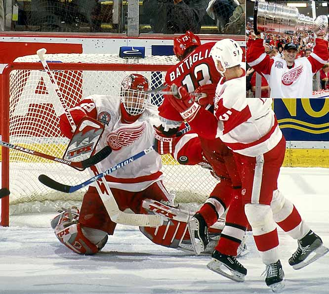 Unwilling to pick up the final year of Hasek's contract at $9 million, the Sabres, on June 30, 2001, traded The Dominator to Detroit for Slava Kozlov, a 2002 first-rounder, and future considerations: Hasek was stellar in the postseason -- 16-7 with six shutouts and a stingy 1.86 GAA -- as the Red Wings went on to win the first Stanley Cup of his storied career.