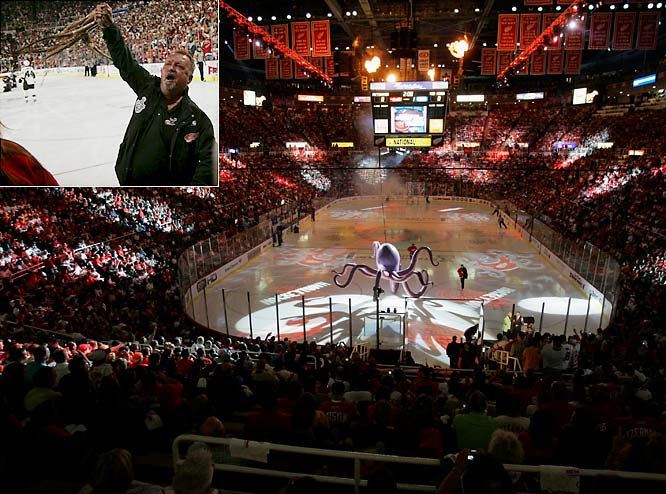 The series opened at Joe Louis Arena in Detroit with much fanfare and the traditional tossing of octopi on the ice.