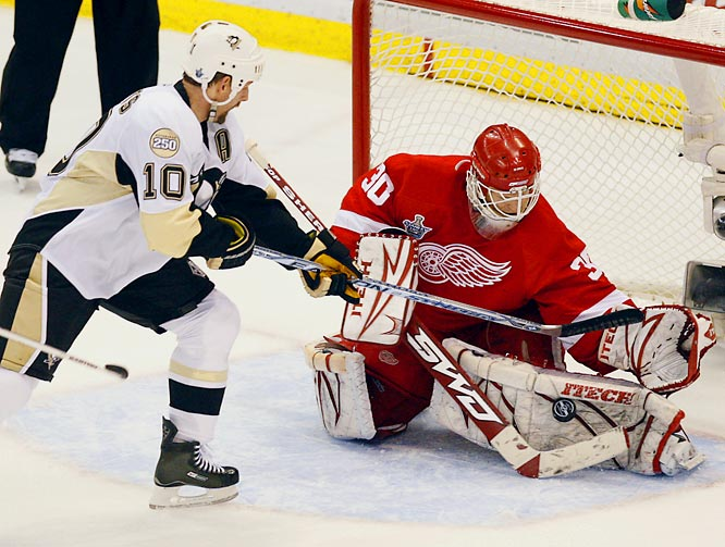 Brad Stuart and Tomas Holmstrom lit the lamp in the first period and Chris Osgood took it from there, making 22 saves and becoming only the fourth goaltender to record back-to-back shutouts in a Stanley Cup Final. Osgood was also accused of diving by the frustrated Penguins, who were called for two interference penalties.