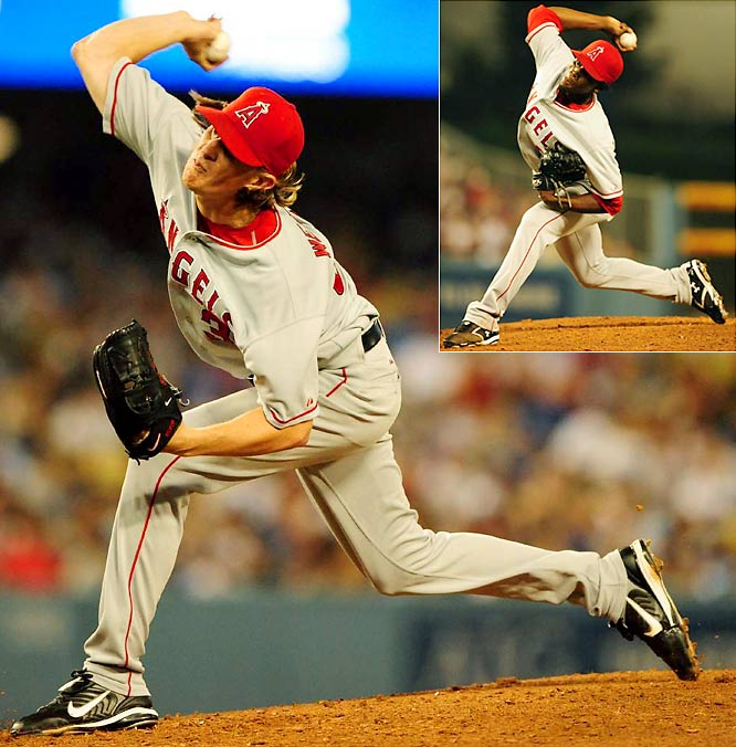 Jered Weaver threw six no-hit innings but yielded a run in the fifth when Matt Kemp reached on Weaver's questionable error as he failed to come up with a squibber past the mound. A stolen base, another error and a sacrifice fly later, the Dodgers had the only run they'd need. Weaver was lifted for a pinch hitter in the seventh and reliever Jose Arredondo (inset) added two more no-hit innings, but the Angels didn't score and the Dodgers became the fifth major-league team to win without a hit.