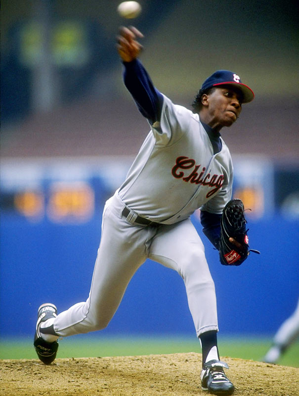 Brothers Melido (pictured) and Pascual Perez each threw rain-shortened no-hitters, but Melido gets bragging rights on his older brother for lasting one more inning. Melido, then with the White Sox, no-hit the Yankees for six innings on July 12, 1990, with nine strikeouts and four walks; Pascual, then an Expo, no-hit the Phillies for five innings on Sept. 24, 1988, striking out eight and walking one. (Bob and Ken Forsch are the only brothers to have thrown official no-hitters.)
