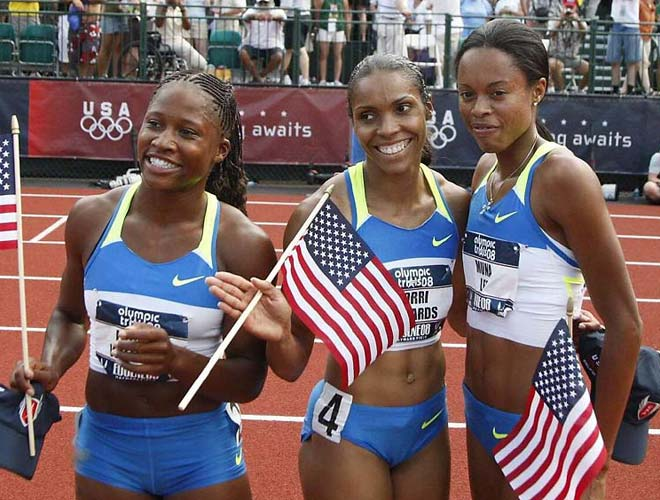 Lauryn Williams, Muna Lee and Torri Edwards qualified for Beijing in the 100-meters. Lee led with a time of 10.85, .05 seconds faster than Edwards and Williams.