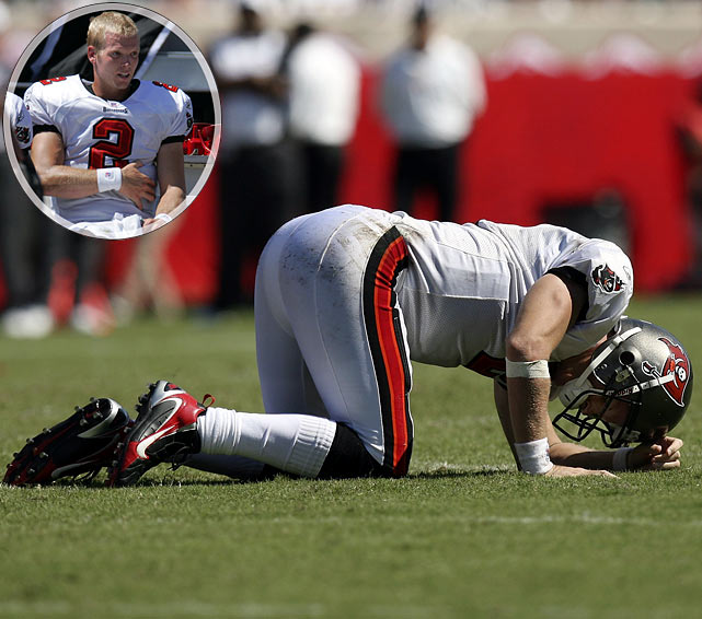 The Tampa Bay Bucs quarterback was hit repeatedly by the Carolina Panthers defense, but remained on the field. Four hours after the game ended he was diagnosed with a ruptured spleen.
