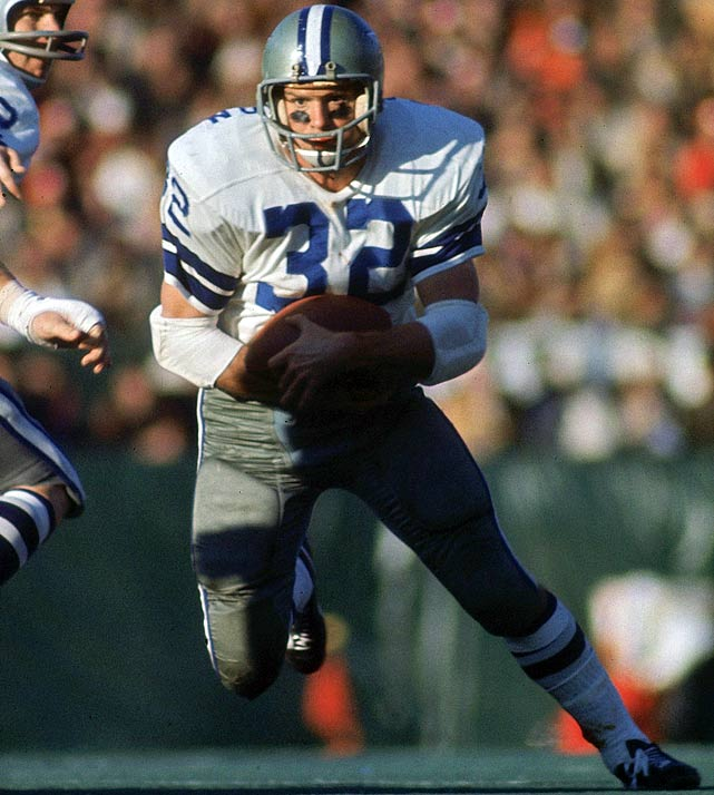 The Cowboys running back broke three ribs in the first quarter of a playoff game, and was carried off the field, but returned to rush for over 100 yards and helped the Cowboys reach Super Bowl V.