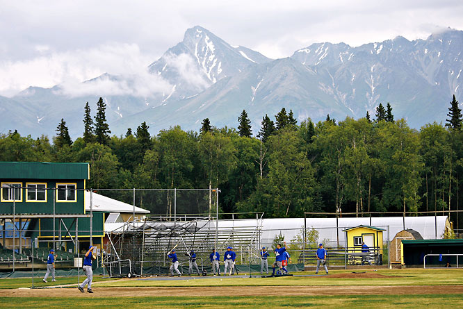 The greatest vista in the Alaskan League belongs to Hermon Brothers Field in Palmer, which is home to the Mat-Su Miners. The mountains of the Chugach Range -- including 6,500-foot Pioneer Peak -- loom in the distance as the visiting Anchorage Glacier Pilots (pictured) warm up before a June 2007 game. The Miners finished 24-11 last summer and tied for the ABL title with the Athletes in Action Fire, who are based in Fairbanks.