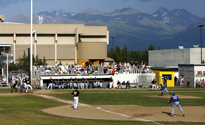 Mulcahey Field in Anchorage is home to both the Bucs and Glacier Pilots, who are shown squaring off on a June, 2007 evening. Sullivan Arena, the annual home of college basketball's Great Alaska Shootout, can be seen looming beyond the first-base line.