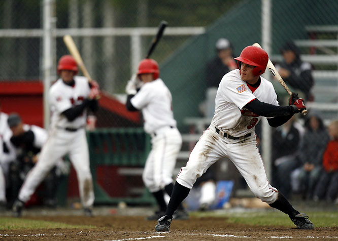 Nick Buss, an outfielder from USC who played for the Peninsula Oilers, prepares to swing at a pitch during a June 2007 game against the Anchorage Bucs. The Oilers occupy the ABL's southernmost outpost on the Kenai Peninsula, which is considered one of the world's best spots for salmon and halibut fishing.