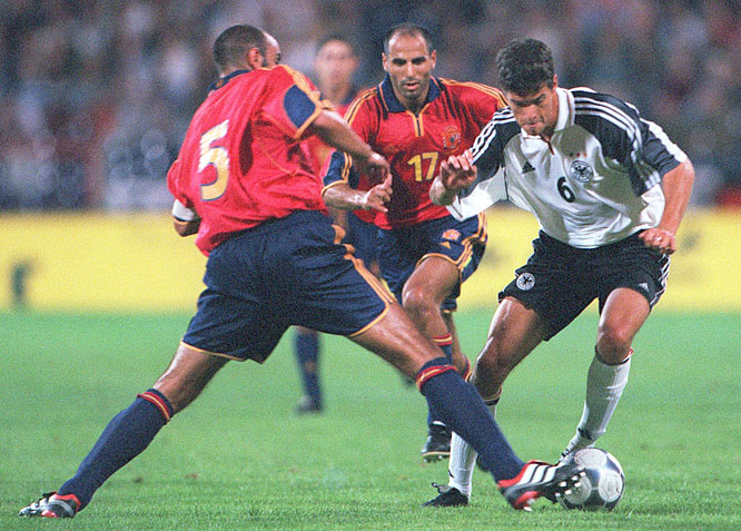 The Germans rebounded from their nightmarish Euro 2000 campaign with an emphatic victory over Spain in Rudi Völler's debut as national team coach. Mehmet Scholl and Alexander Zickler tallied two goals apiece to help Germany stake a commanding 4-0 lead before Raul's cosmetic strike. Current German captain Michael Ballack (right) made his ninth international appearance in the rout.