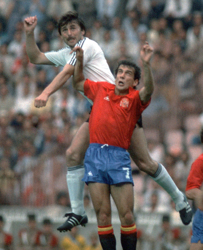 Playing before a hysterical home crowd at the hallowed Bernabéu, the Germans eliminated the tournament hosts from the World Cup thanks to second-half goals from Klaus Fischer and Pierre Littbarski.