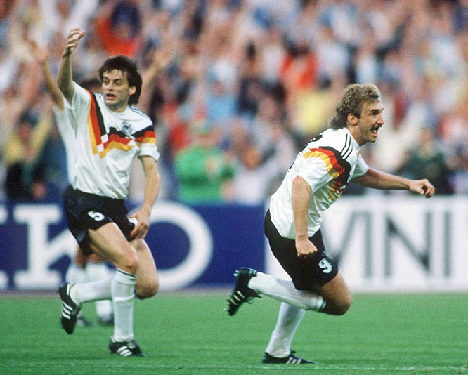 A double from Rudi Völler (right) helped West Germany clinch a first-place finish in Group A, while eliminating Spain from a major international tournament for the third time in 12 years.