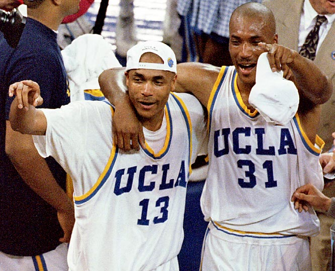 Ed, a senior power forward, and brother Charles, a sophomore small forward, comprised two-fifths of the starting lineup for the UCLA team which won the 1995 NCAA men's basketball tournament. Known for their trademark shaved heads and explosive style of play, the O'Bannon brothers have been credited with returning UCLA basketball to national relevance during the mid-'90s.