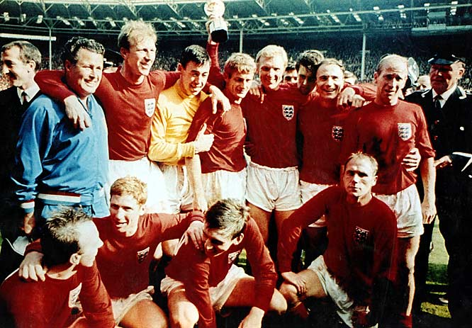 England won its first and only World Cup in 1966 at Wembley Stadium with a 4-2 victory over West Germany in extra time. Jack (back left) and Bobby (back right) both played the entire game, weeping openly in one another's arms when the victory was complete.