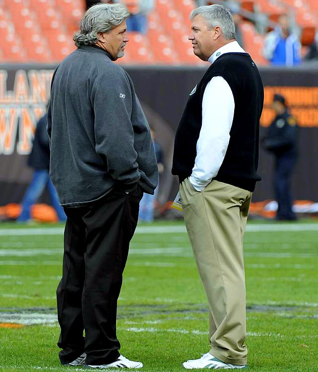 "Born five minutes apart, Rex and Rob Ryan are as close as can be. The two cut their teeth together as defensive position coaches in Arizona before moving on to defensive coordinator positions, and during the season, the two exchange phone calls almost daily. But all that falls to the wayside on game day. Head coach Rex's New York Jets and defensive coordinator Rob's Cleveland Browns squared off Nov. 14, 2010 in Cleveland with the Jets emerging victorious 26-20 in overtime. It was the first installment of the ""Buddy Bowl"" that one of the Ryan's was a head coach. Rob had held a 3-0 advantage in prior meetings."