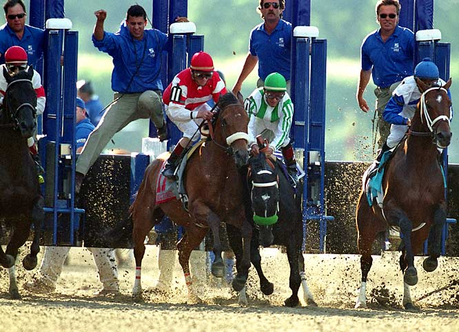 After a four-length, wire-to-wire Derby win and a close victory at the Preakness, War Emblem (middle) quickly lost his Triple Crown chances by stumbling out of the Belmont gate. Though the horse came back to take the lead late in the race, he faded into eight place on the back stretch -- the worst Belmont finish for any winner of the first two Triple Crown legs.