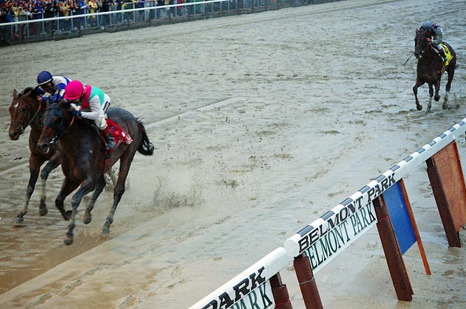 Funny Cide (top right corner) became the first gelding to win the Derby since 1929 and ran away with the Preakness by 9 3/4 lengths, but slipped to third place on a wet Belmont track when jockey Jose Santos ran him along the rail, the muddiest part of the track.