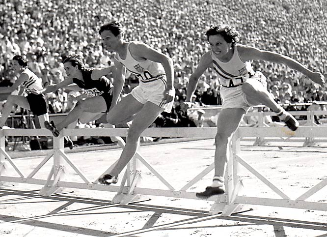 Nicknamed after baseball-legend Babe Ruth, Zaharias (2nd from right) mastered a plethora of sports. Although she qualified for five Olympic events in the 1932 Games in Los Angeles, women were allowed to compete in only three.  She won gold in the javelin -- the first female gold medalist in the event -- and set a world record in the 80-meter hurdles (11.7 seconds). Zaharias won the silver medal in the high jump behind Jean Smiley, though both broke the world record.