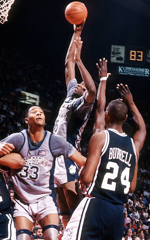 Along with teammate Alonzo Mourning, Mutombo was named Big East Co-Defensive Player of the Year in 1990. Mutombo ranks first in Hoya history in single-season rebounds (389) and single-season defensive rebounds (259). He also holds the record for single-season and career field goal percent (.709 and .643, respectively). Mutombo's contributions reach far beyond the basketball court. In 2007, he was inducted into the World Sports Humanitarian Hall of Fame for his achievements as both an athlete and philanthropist.