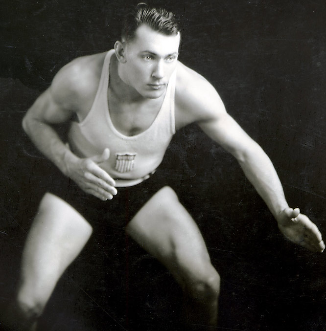 "As an NCAA All-America wrestler, Pete ""Kansas Whirlwind"" Mehringer won two state-wide wrestling championships and three Missiouri Valley Conference titles. As a sophomore, he won the 1932 Olympic freestyle wresting gold medal, making him the first KU athlete to ever win gold. He was also a two-time All-Big Six and second team All-America defensive tackle for the Jayhawk's football team and later went on to play professional football."