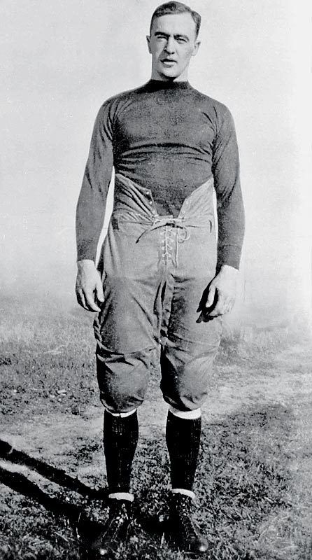 A true dual-threat quarterback, this legendary football player was coach Knute Rockne's go-to man despite never playing football in high school. Gipp led the Irish in rushing and passing each of his last three seasons (1918, 1919 and 1920) and his career mark of 2,341 rushing yards remained the record until broken by Jerome Heavens in 1978. An incredibly versatile athlete, the Gipper was also a strong punter and defensive back and had planned to play for the Chicago Cubs before his untimely death at age 25.