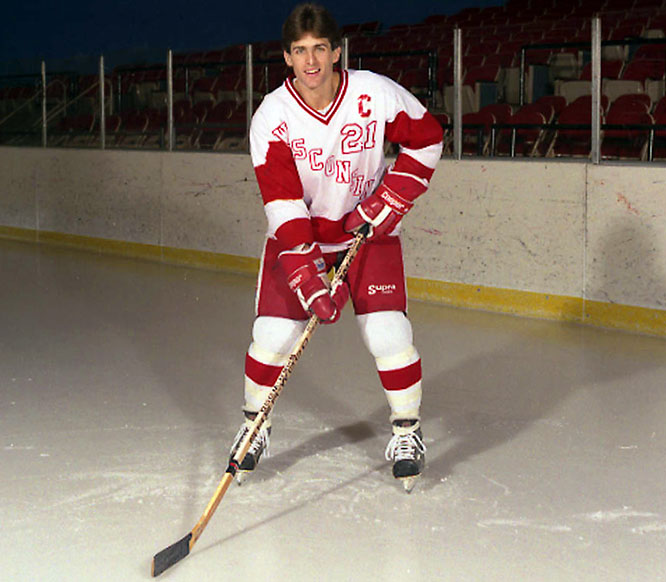 The two-time All-America is one of just two Badgers to finish in triple digits in both career goals (100) and assists (120) and was a finalist for the 1987 Hobey Baker award with 28 goals and 45 assists.