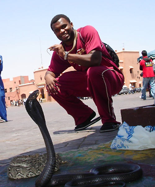 Back in Morocco, Rolle tried his hand at charming a Cobra.