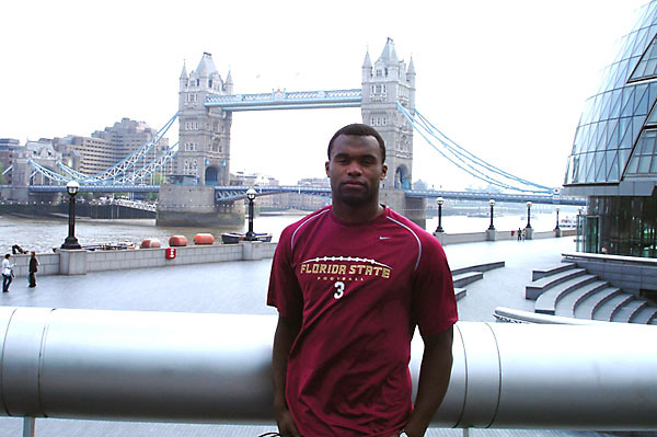 In the spring of 2007, Rolle spent six weeks studying abroad in London, documenting his travels with a digital camera. Here, Rolle is in front of Tower Bridge in London.