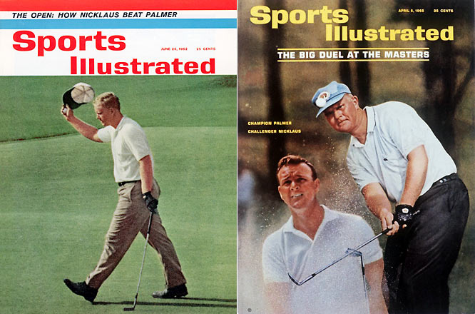 The rivalry that brought golf to the mainstream, Nicklaus and Palmer finished 1-2 in four different major championships. Nicklaus won his first major in a Monday playoff over Palmer in 1963, and Palmer won his only U.S. Open when he came from seven back on Sunday in the 1960 Open.