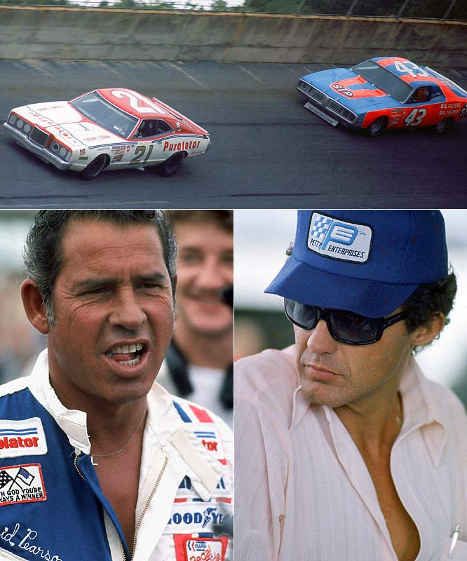 How's this for metronomic dominance: NASCAR's top two all-time leaders in wins (Petty 200, Pearson 105) finished 1-2 in 63 races between August '63 and June '77. (Pearson won 33.) In all, The King and The Silver Fox faced each other 550 times, with Petty finishing ahead, 289-261, and winning seven championships to Pearson's three.