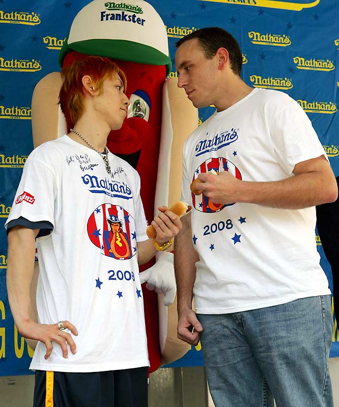 Kobayashi dominated the Nathan's Hot Dog Eating Contest for six straight years, but his reign ended in 2007 when American Joey Chestnut ate 66 hot dogs in 12 minutes to Kobayashi's 63. The matchup reached new drama this year when the pair tied at 59 hot dogs (the contest had been shortened by two minutes), and went to overtime where Chestnut finished five dogs faster than Kobayashi.