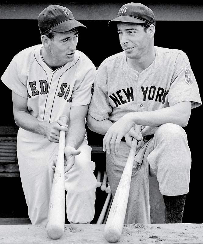 The centerpieces of the Red Sox and Yankees, respectively, had the greatest summer of their rivalry in 1941 when Williams hit .406 and DiMaggio went on his record-breaking 56-game hitting streak (DiMaggio would win the MVP that year). Their personal rivalry would extend throughout their careers, but only DiMaggio's Yankees would win World Series titles (nine of them).