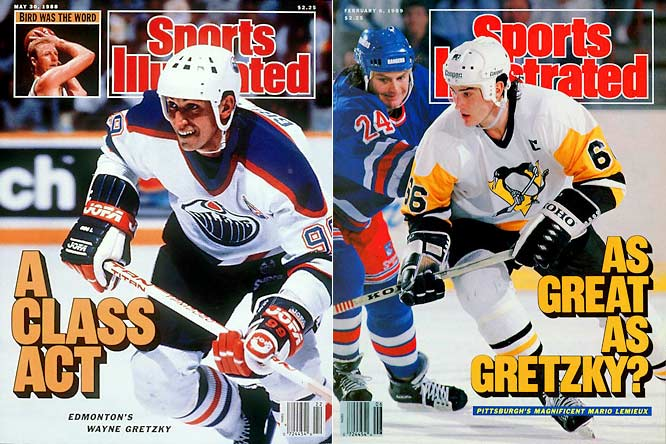 The Great One ruled the '80s with his four-time Stanley Cup champion Oilers, but Super Mario ended Gretzky's run of seven straight scoring titles and eight consecutive MVP awards during the 1987-88 season. From then on, either superstar would win the scoring crown each season through '93-'94, but Lemieux took possession of the big silverware, coppng the Cup in '91 and '92. Gretzky's Kings reached the Cup final in '93.