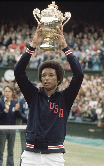Jake LaMotta (1921) <br>Johnny Bach (1924) <br>Arthur Ashe (1943, pictured) <br>Virginia Wade (1945) <br>Andre Dawson (1954) <br>Roger Craig (1960) <br>Mike Saxon (1962) <br>Urban Meyer (1964) <br>Buddy Groom (1965)<br>Marty Cordova (1969) <br>Brent Alexander (1971) <br>Adam Foote (1971) <br>Adam Petty (1980) <br>